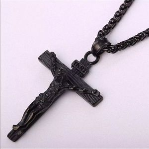 Other - Black Crucifix Jesus Cross Necklace